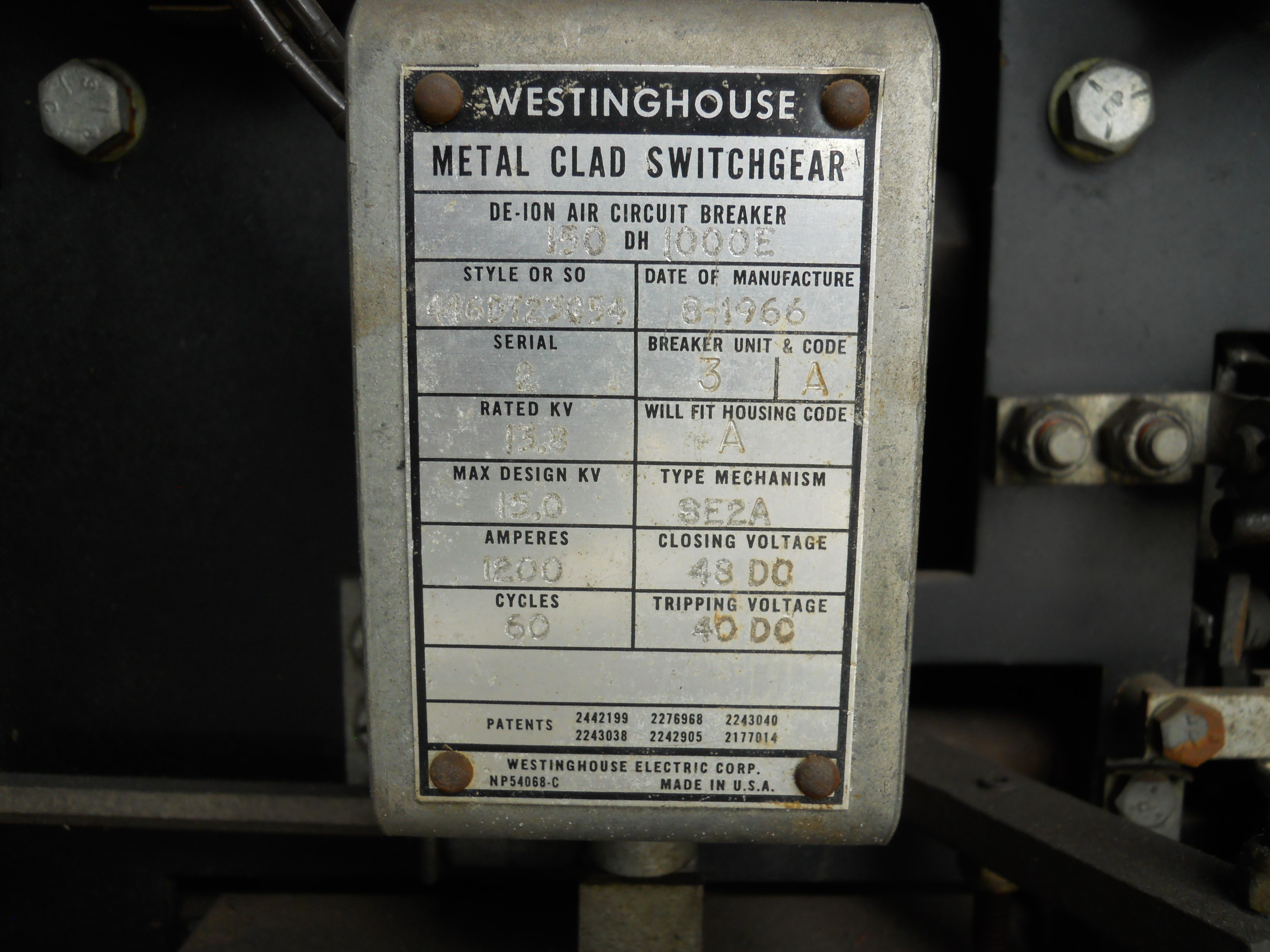 A housing code for a Westinghouse air breaker.